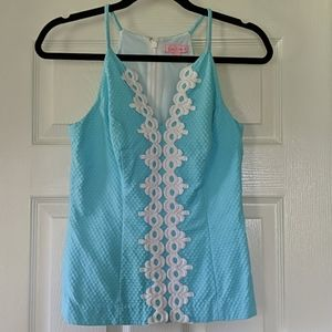 Lilly Pulitzer Blue Annabelle Halter Tank Top